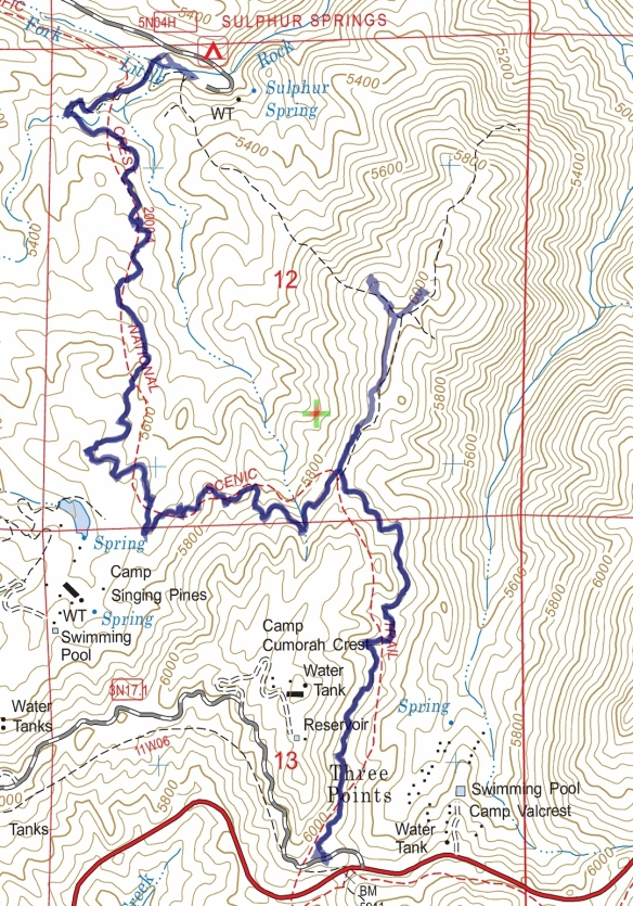 Track map for 2016 hike #11 PCT: Three Points to Sulphur Springs using Backcountry Navigator (US Forest Service-2013 map) from my phone.