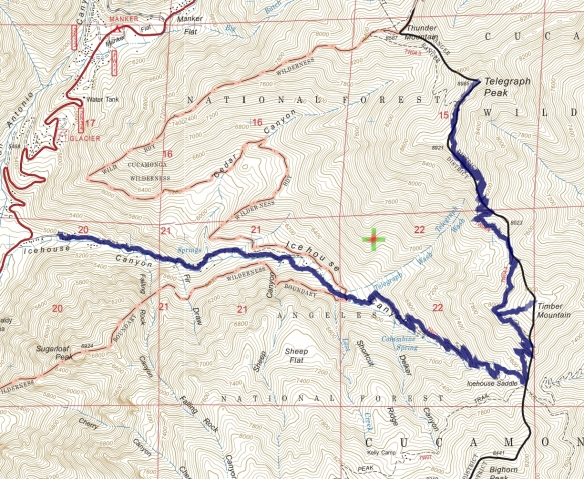 Track map for 2016 Hike #47 Telegraph Peak-601 using Backcountry Navigator (US Forest Service-2013 map) from my phone.