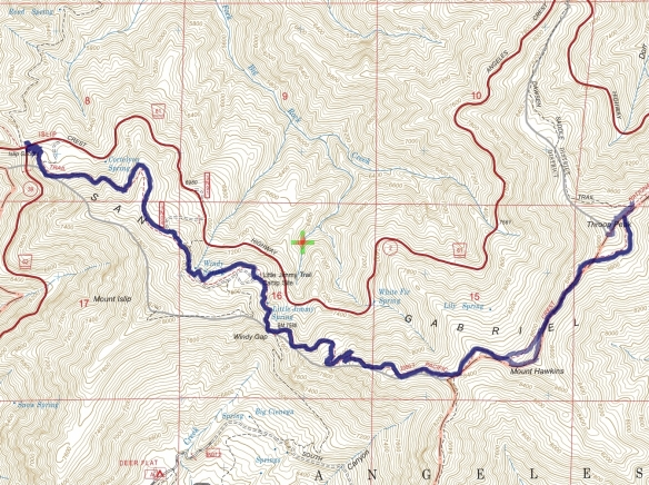 Track map for 2016 Hike #52 Islip Saddle to Throop Peak and Mt. Hawkins-1601 using Backcountry Navigator (US Forest Service-2013 map) from my phone.
