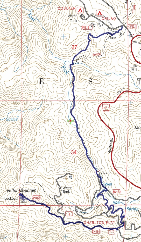 Track map for 2016 Hike #60 Chilao to Vetter Mountain-1601 using Backcountry Navigator (US Forest Service-2013 map) from my phone.