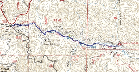Track map for 2016 Hike #59 Red Box to Valley Forge-1601 using Backcountry Navigator (US Forest Service-2013 map) from my phone.