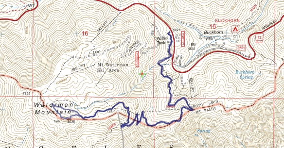 Track map for 2016 hike #37 Waterman-1602 using Backcountry Navigator (US Forest Service-2013 map) from my phone.