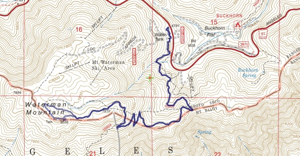 Hike #1 Mt. Waterman 1601 track map using Backcountry Navigator (US Forest Service-2013 map) from my phone