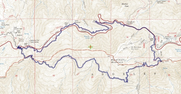 Track map for 2016 hike #18 Mt. Waterman Loop using Backcountry Navigator (US Forest Service-2013 map) from my phone.
