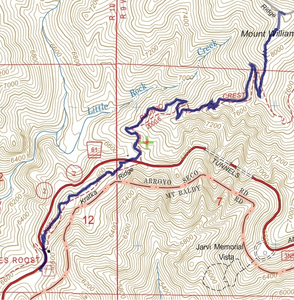 Track map for 2016 Hike #51 Eagles Roost to Mt. Williamson-1601 using Backcountry Navigator (US Forest Service-2013 map) from my phone.