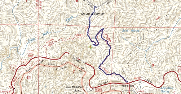 Track map for 2016 hike #19 Mt. Willliamson 1601 using Backcountry Navigator (US Forest Service-2013 map) from my phone.