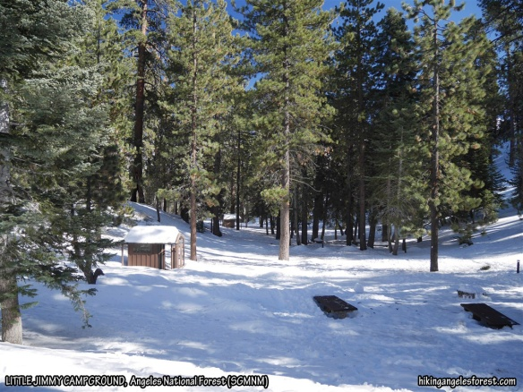 Little Jimmy Campground, note thickness of snow on bathroom roof and around picnic tables.