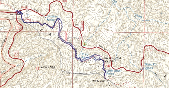 Track map from Islip Saddle to Windy Gap using Backcountry Navigator (US Forest Service-2013 map) from my phone.