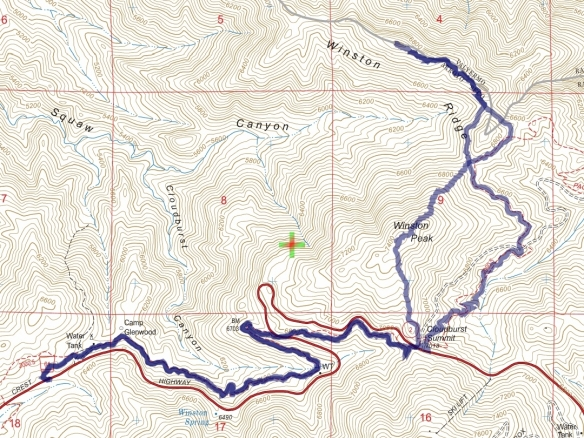 Track map for 2016 Hike #49 Winston Ridge-1601 using Backcountry Navigator (US Forest Service-2013 map) from my phone.