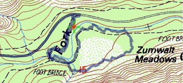 Track map for hike #40 (B) Zumwalt Meadow-1601 using Backcountry Navigator (Cal Topo US 24K Topo map) from my phone.
