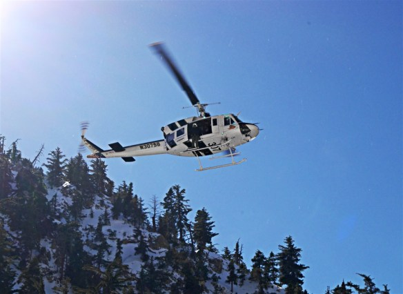 Helicopter rescue getting under way last Wednesday in Icehouse Canyon.