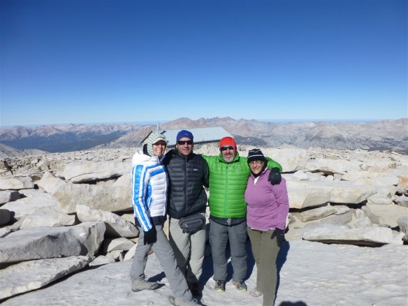 Camilla, Etienne, myself, and my wife Debbie on Mt. Whitney on August 1, 2013. Unfortunately, on the way down I injured myself and began my long period of dealing with injuries. 2013 was still a decent year with 77 hikes covering over 638 miles.