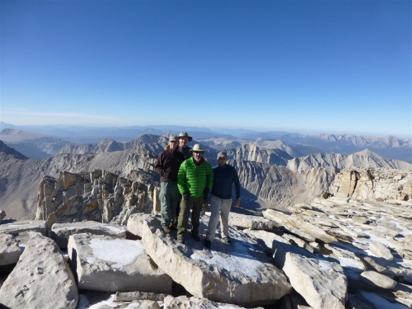 David, Scott, myself, and Tim on Mt. Whitney August 15, 2012. By far my best year hiking with over 108 hikes covering over 977 miles.