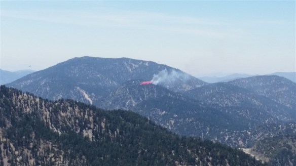 Zoom view of one of the first fire retardant drops (which landed on the fire) as seen from the Dawson Saddle Trail.