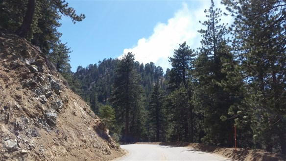 View of the fire coming over Kratka Ridge from Angeles Crest Highway before Vista.