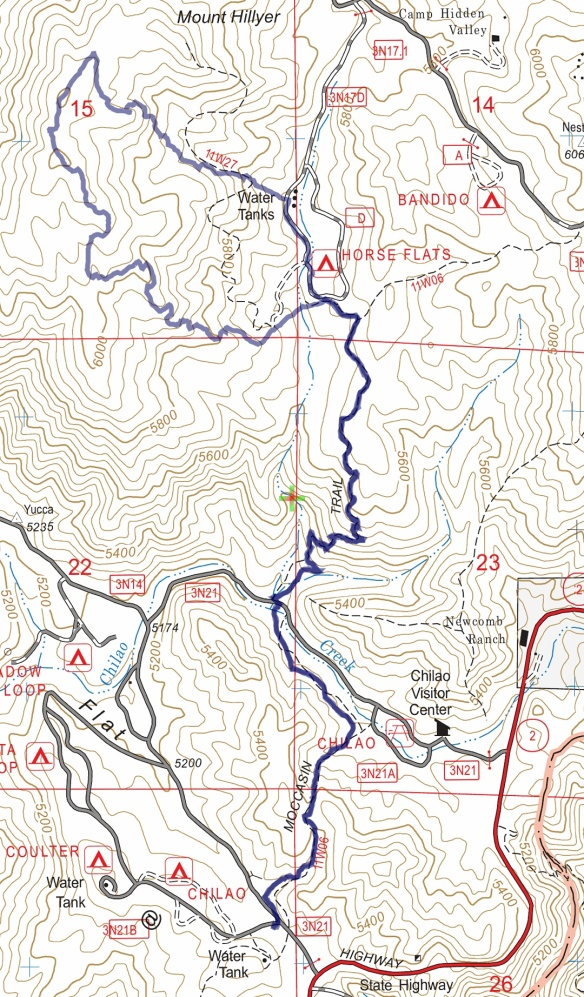 Chilao South to Mt. Hillyer Lollipop track map from November 2016 using Backcountry Navigator (US Forest Service-2013 map) from my phone.