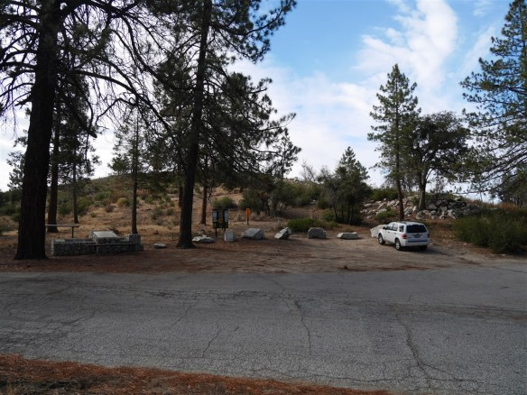View of South Chilao parking area and Silver Moccasin trailhead heading south.