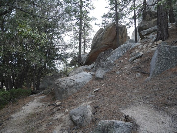 The view toward the large boulders. Stay to the right going around them.