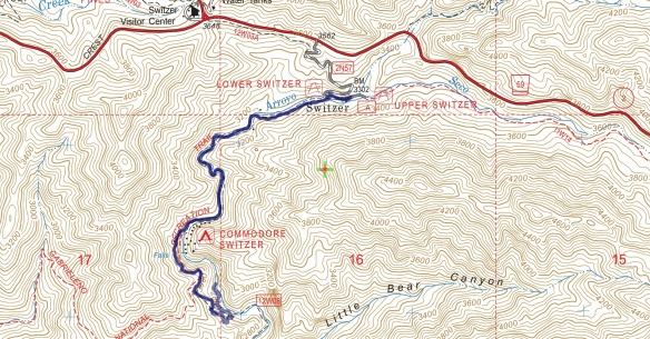 Track map for Switzer Picnic Area to Switzer Falls from January 2016 using Backcountry Navigator (US Forest Service-2013 map) from my phone.