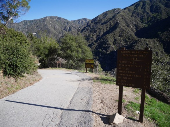 View from trailhead for the Gabrieleno Trail leading down to bridge.