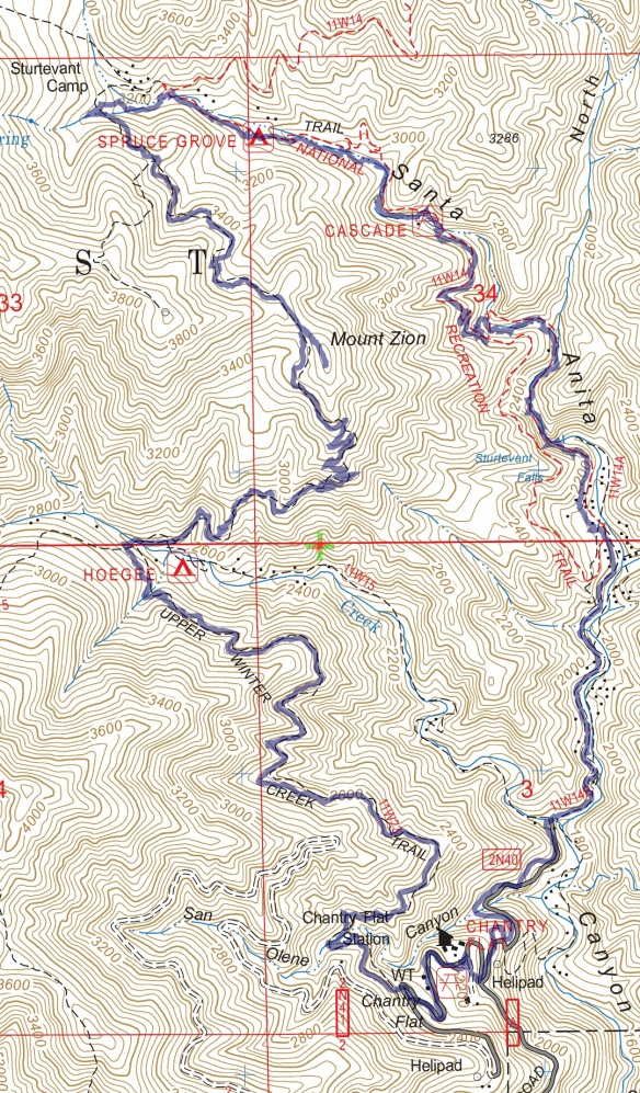 Track map for Chantry Flats to Mt. Zion Loop via Upper falls and Upper Winter Creek from December 2016 using Backcountry Navigator (US Forest Service-2013 map) from my phone.
