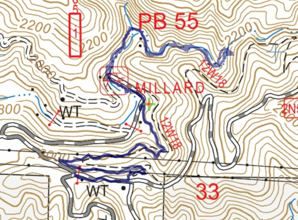 Track map for Lower Sunset Ridge to Millard Falls on 1-13-2017 using Backcountry Navigator (US Forest Service-2013 map) from my phone.