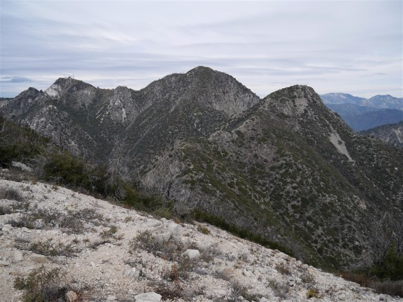 View looking toward Mt. Disappointment, San Gabriel Peak and Mt. Markham from Mt. Lowe on 1-18-17.