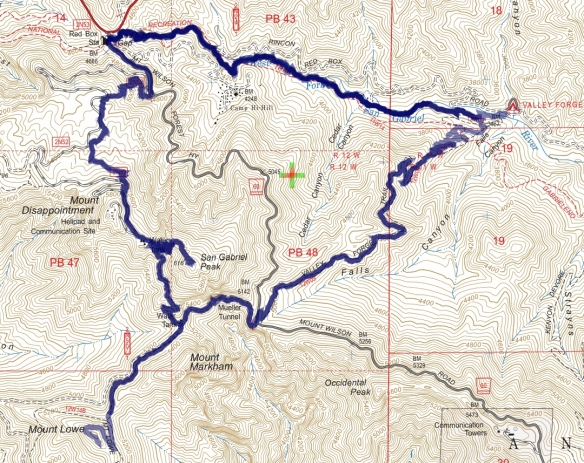 Track map for Red Box to Valley Forge, Mt. Lowe, and San Gabriel Peak on 1-18-2017 using Backcountry Navigator (US Forest Service-2013 map) from my phone.