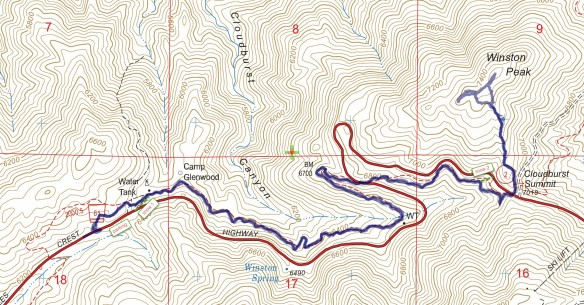 Track map for Angeles Crest Highway Mile Marker 54.10 to Winston Peak in November 2015 using Backcountry Navigator (US Forest Service-2013 map) from my phone.