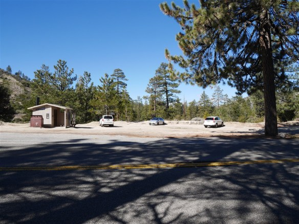 View of parking area at Devil's Canyon Trailhead.