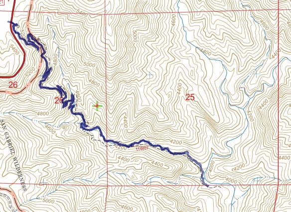 Track map for Devil's Canyon Trail to the trail camp from February 2017 using Backcountry Navigator (US Forest Service-2013 map) from my phone.