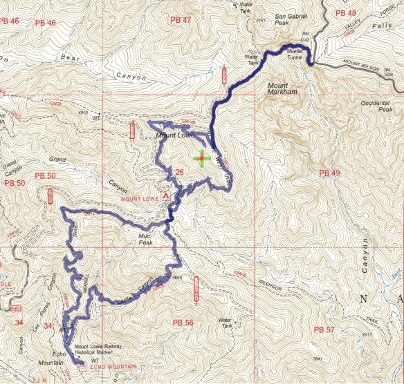 Track map for Eaton Saddle to Mt. Lowe and Echo Mountain from February 2017 using Backcountry Navigator (US Forest Service-2013 map) from my phone.