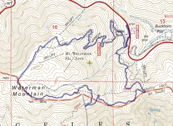 Track map for Mt. Waterman Loop from February 2017 using Backcountry Navigator (US Forest Service-2013 map) from my phone.