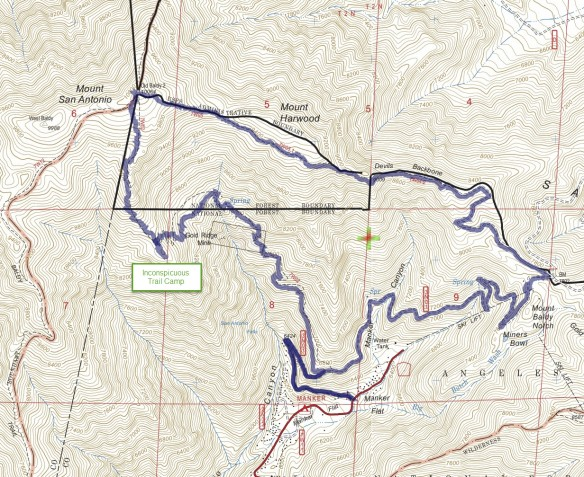 Baldy Bowl Trail And Devils Backbone Loop To Mt Baldy Hiking - Mt baldy map on map of us